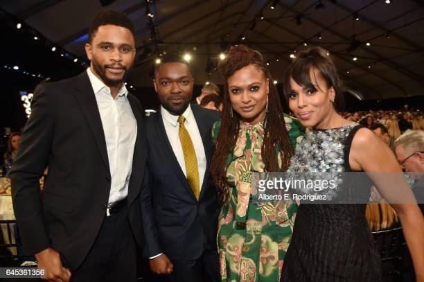 Former NFL player Nnamdi Asomugha actor David Oyelowo director Ava DuVernay and actor Kerry Washington attend the 2017 Film Independent Spirit Awards...