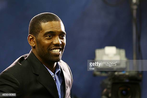 Former NFL player Randy Moss attends Super Bowl XLVIII Media Day at the Prudential Center on January 28 2014 in Newark New Jersey Super Bowl XLVIII...