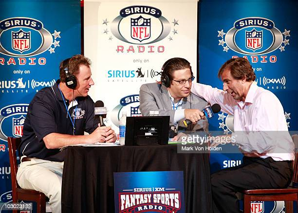 Former NFL player Rich Gannon Sirius XM radio host Adam Schein and Sirius XM radio's Chris 'Mad Dog' Russo attend the SIRIUS XM Radio celebrity...