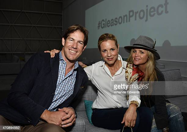 Former NFL player Scott Fujita actress Maria Bello and activist Clare Munn attend a special preview of 'The Gleason Project' at ZEFR Warehouse on...