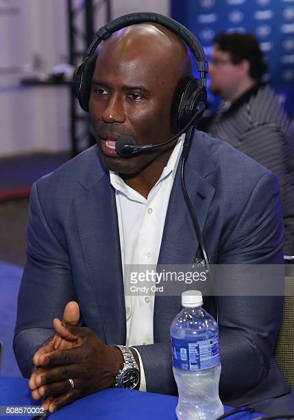 Former NFL player Terrell Davis visits the SiriusXM set at Super Bowl 50 Radio Row at the Moscone Center on February 5 2016 in San Francisco...