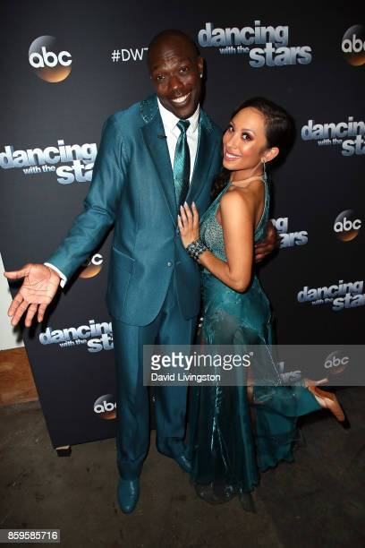 Former NFL player Terrell Owens and dancer Cheryl Burke attend 'Dancing with the Stars' season 25 at CBS Televison City on October 9 2017 in Los...