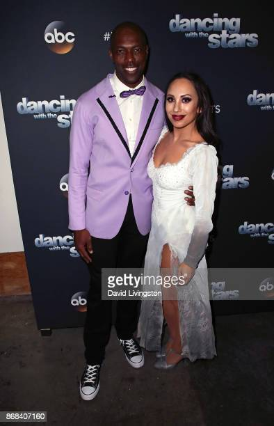 Former NFL player Terrell Owens and dancer Cheryl Burke pose at 'Dancing with the Stars' season 25 at CBS Televison City on October 30 2017 in Los...