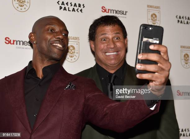Former NFL player Terrell Owens and former Major League Baseball player Jose Canseco attend the grand opening of Renegades at Caesars Palace on...