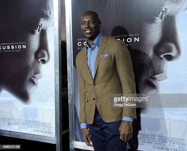 Former NFL player Terrell Owens arrives at the screening of Columbia Pictures' 'Concussion' at Regency Village Theatre on November 23 2015 in...