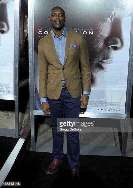 Former NFL player Terrell Owens arrives at the screening of Columbia Pictures' Concussion at Regency Village Theatre on November 23 2015 in Westwood...