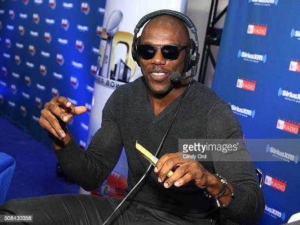 Former NFL player Terrell Owens attends SiriusXM at Super Bowl 50 Radio Row at the Moscone Center on February 4 2016 in San Francisco California