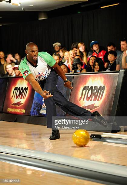 Former NFL player Terrell Owens bowls at the 5th annual Chris Paul PBA AllStars Invitational hosted by LA Clippers star guard Chris Paul at Lucky...