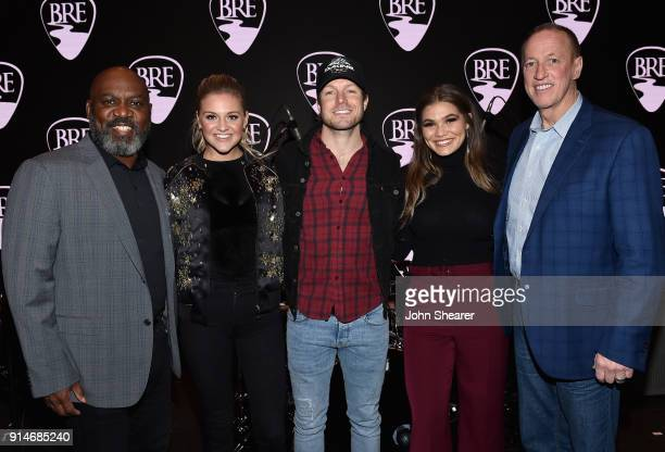 Former NFL player Thurman Thomas Kelsea Ballerini Jacob Davis Abby Anderson and former NFL player Jim Kelly attend the 2018 Black River Entertainment...