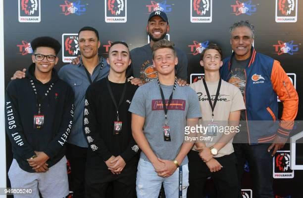 Former NFL player Tony Gonzalez former NBA player Jared Jeffries and actor and former NBA player Rick Fox attend opening weekend of the Twin Galaxies...