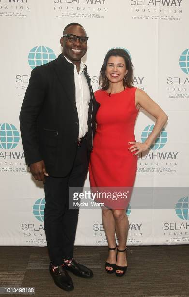 Former NFL player Tony Richardson and Elizabeth Mendez Fischer attend the Selah Way Foundation Luncheon at Wells Fargo 42nd St on August 8 2018 in...