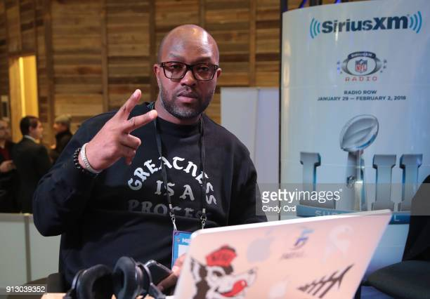 Former NFL player Torry Holt attends SiriusXM at Super Bowl LII Radio Row at the Mall of America on February 1 2018 in Bloomington Minnesota