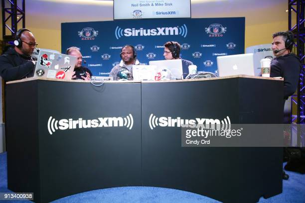Former NFL player Torry Holt Mike Sisk former NFL player Neil Smith former NFL player Ed McCaffrey and SiriusXM radio host Bob Papa attend SiriusXM...