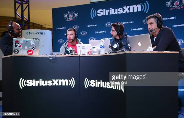 Former NFL player Torry HoltTravis Kelce of the Kansas City Chiefs former NFL player Ed McCaffrey and SiriusXM radio host Bob Papa attend SiriusXM at...