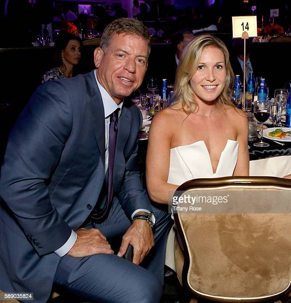 Former NFL player Troy Aikman and guest attend the 16th Annual Harold Carole Pump Foundation Gala at The Beverly Hilton Hotel on August 12 2016 in...