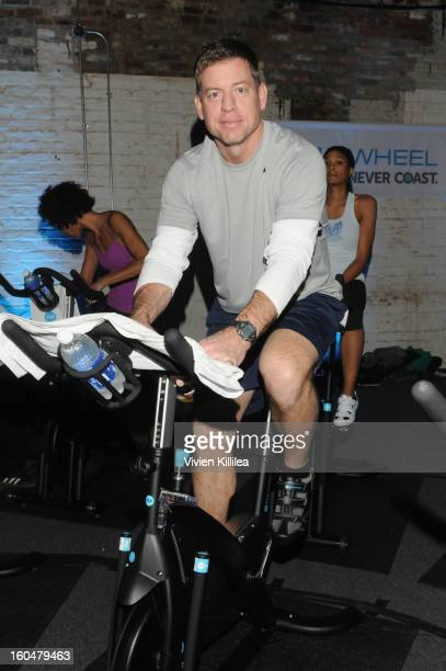 Former NFL Player Troy Aikman attends The Flywheel Challenge at the NFL House hosted by Shannon Sharpe at The Chicory on February 1 2013 in New...