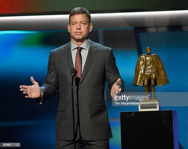 Former NFL player Troy Aikman speaks onstage during the 5th Annual NFL Honors at Bill Graham Civic Auditorium on February 6 2016 in San Francisco...