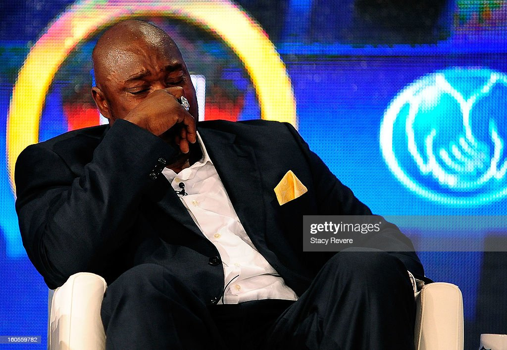 Former NFL player Warren Sapp becomes emotional after being elected into the Pro Football Hall of Fame during the Pro Football Hall of Fame Press Conference at the New Orleans Convention Center on February 2, 2013 in New Orleans, Louisiana.