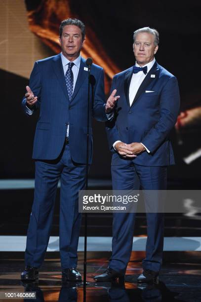 Former NFL players Dan Marino and John Elway speak onstage at The 2018 ESPYS at Microsoft Theater on July 18 2018 in Los Angeles California