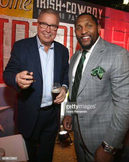Former NFL quarterback and ESPN NFL analyst Ron Jaworski and NFL linebacker Ray Lewis attend the Ditka and Jaws Cigars with the Stars Party on...