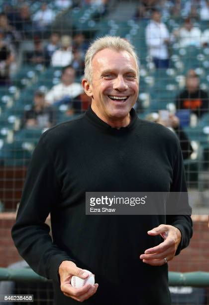 Former NFL quarterback Joe Montana gets ready to throw out the ceremonial first pitch before the San Francisco Giants game against the Los Angeles...