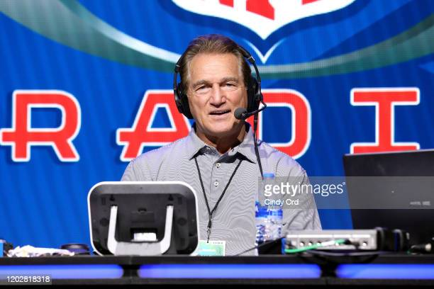 Former NFL quarterback Joe Theismann speaks on stage during day one with SiriusXM at Super Bowl LIV on January 29, 2020 in Miami, Florida.