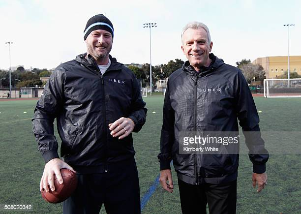 Former NFL quarterback Trent Dilfer and former NFL quarterback Joe Montana attend QB Legends On Demand presented by Uber and Bai at Raymond Kimbell...