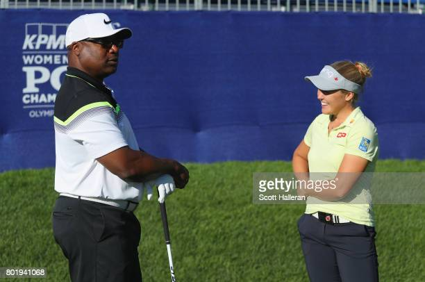 Former NFL star Bo Jackson chats with Brooke Henderson of Canada during the proam prior to the start of the 2017 KPMG Women's PGA Championship at...