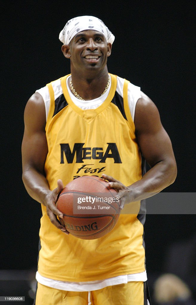 Former NFL star Jayson Deion Sanders participates in The Mega Fest 2004 event Hosted by Magic Johnson, commentated by former NFL star Michael Irvin. Event held at Philips Arena