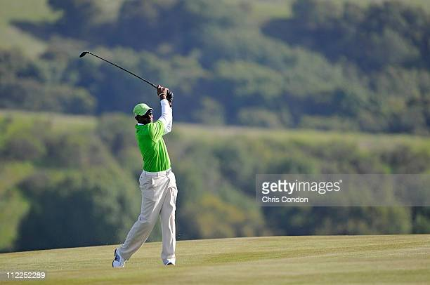 Former NFL star Jerry Rice plays a shot during the second round of the Fresh Express Classic at TPC Stonebrae on April 15 2011 in Hayward California