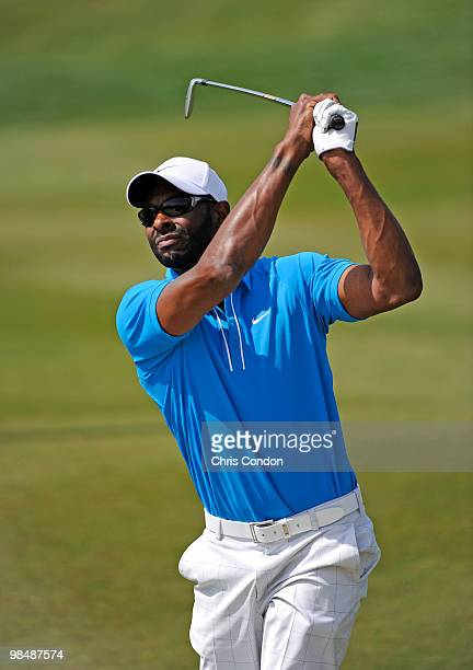 Former NFL star Jerry Rice plays a shot in his Nationwide Tour debut during the first round of the Fresh Express Classic at TPC Stonebrae on April 15...