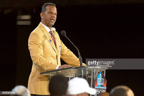 Former NFL wide receiver Andre Reed gives his speech during the NFL Class of 2014 Pro Football Hall of Fame Enshrinement Ceremony at Fawcett Stadium...