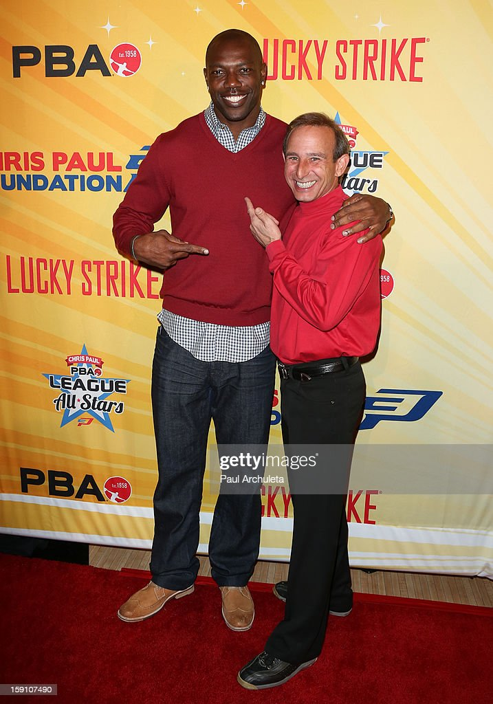 Former NFL Wide Receiver Terrell Owens (L) and Professional Bowler Norm Duke (R) attend the 5th annual Chris Paul PBA All-Stars charity tournament at Lucky Strike Lanes at L.A. Live on January 7, 2013 in Los Angeles, California.