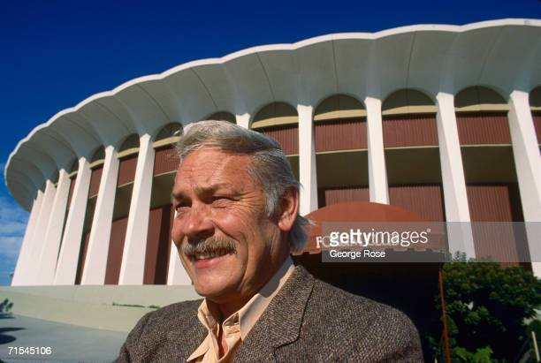 "Former NHL and NBA owner, Gerald ""Jerry"" Buss, poses outside the Forum during a 1988 Inglewood, California, photo portrait session. Buss purchased..."
