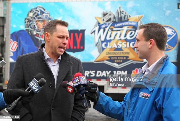 Former NHL goaltender Martin Biron speaks to media as the 2018 Bridgestone NHL Winter Classic Ice Plant makes a stop on December 15 2017 at KeyBank...