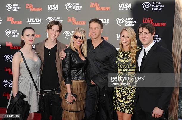 Former NHL hockey player Luc Robitaille with family and Steven R McQueen arrive at 'The Lone Ranger' World Premiere at Disney's California Adventure...