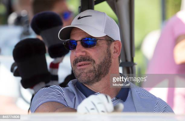 Former NHL John LeClair looks on from his golf cart during the Julius Erving Golf Classic at The ACE Club on September 11 2017 in Lafayette Hill...