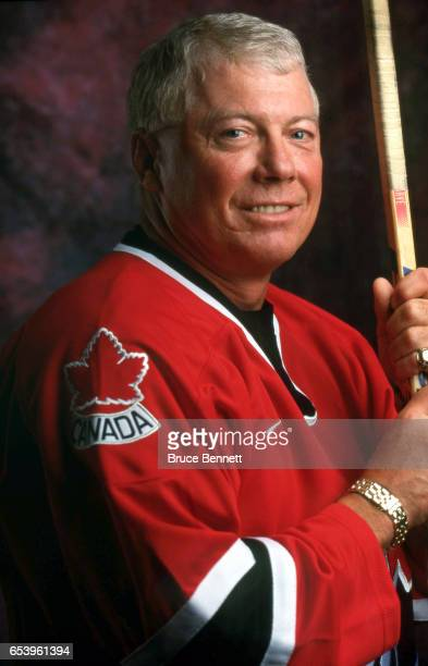 Former NHL player Bobby Clarke poses for a portrait in an Olympic Team Canada jersey on September 3 2002