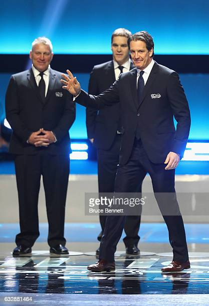 Former NHL player Brendan Shanahan is introduced during the NHL 100 presented by GEICO Show as part of the 2017 NHL AllStar Weekend at the Microsoft...