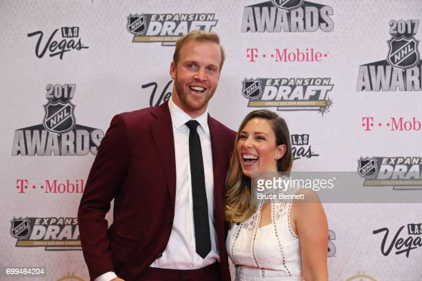 Former NHL player Brian Bickell and wife Amanda Caskenette attend the 2017 NHL Awards at TMobile Arena on June 21 2017 in Las Vegas Nevada