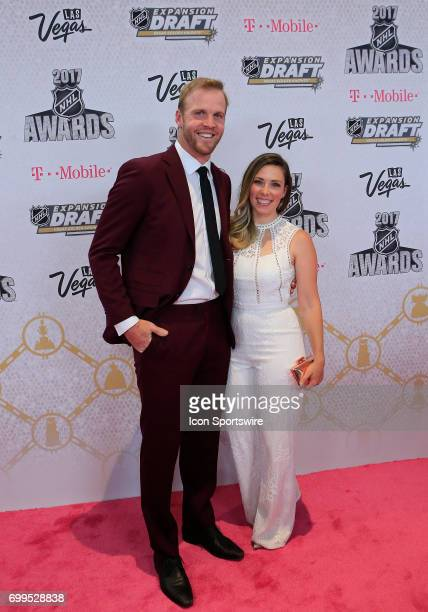 Former NHL player Bryan Bickell and wife Amanda attend the 2017 NHL Awards Expansion Draft at TMobile Arena on June 21 2017 in Las Vegas Nevada