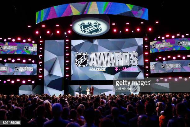 Former NHL player Bryan Bickell and wife Amanda speak onstage during the 2017 NHL Awards Expansion Draft at TMobile Arena on June 21 2017 in Las...