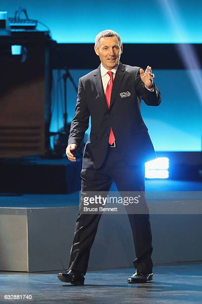 Former NHL player Denis Savard is introduced during the NHL 100 presented by GEICO Show as part of the 2017 NHL AllStar Weekend at the Microsoft...