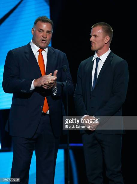 Former NHL player Eric Lindros and Daniel Sedin speak onstage during the 2018 NHL Awards presented by Hulu at The Joint inside the Hard Rock Hotel...