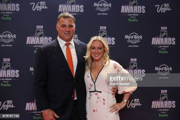 Former NHL player Eric Lindros and guest arrive at the 2018 NHL Awards presented by Hulu at the Hard Rock Hotel Casino on June 20 2018 in Las Vegas...
