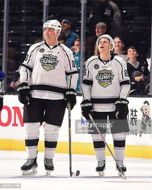 Former NHL Player Eric Lindros and Patrick Kane of the Chicago Blackhawks look on during the 2017 NHL AllStar Celebrity Shootout as part of the 2017...