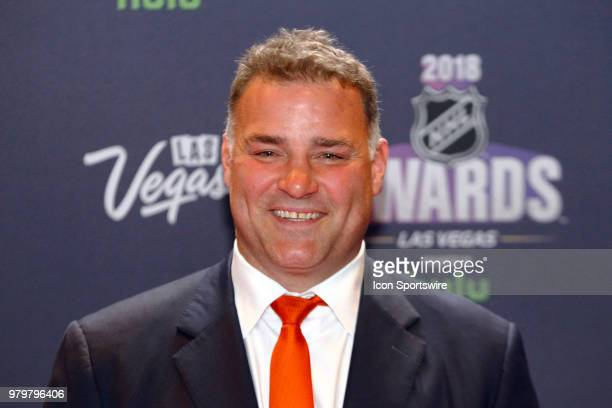 Former NHL player Eric Lindros poses for photos on the red carpet during the 2018 NHL Awards presented by Hulu at The Joint Hard Rock Hotel Casino on...