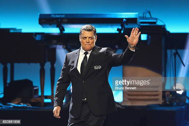 Former NHL player Pat LaFontaine is introduced during the NHL 100 presented by GEICO Show as part of the 2017 NHL AllStar Weekend at the Microsoft...