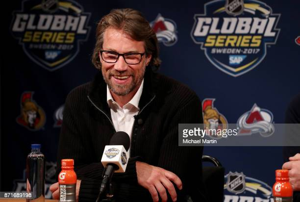 Former NHL player Peter Forsberg takes questions from the media at the Ericsson Globe on November 8 2017 in Stockholm Sweden
