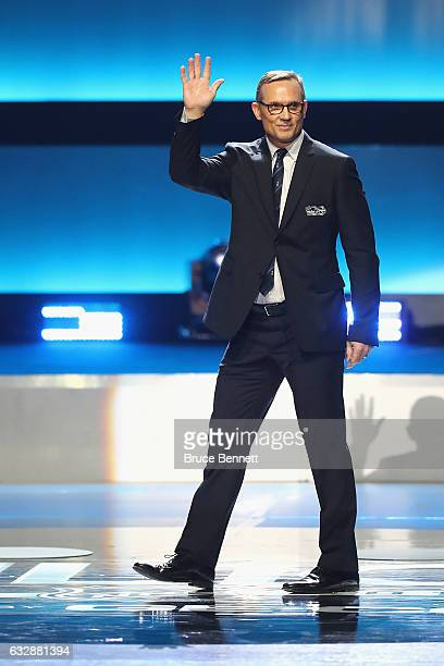 Former NHL player Steve Yzerman is introduced during the NHL 100 presented by GEICO Show as part of the 2017 NHL AllStar Weekend at the Microsoft...